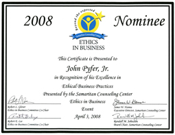 2008 nominee for ethics in business certificate
