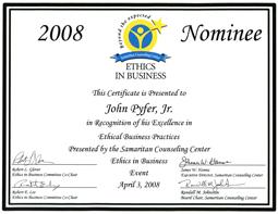 2008 nominado para el certificado de ética empresarial