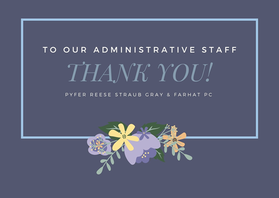 thank you card to our administrative staff